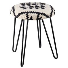 monochrome seating basma metal and black and white patterned fabric stool maisons du monde