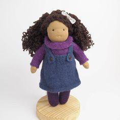 """Waldorf doll Duniasha 10"""", waldorf toy, steiner doll, waldorf toddler toy, cloth doll waldorf handmade, hand knitted doll, soft organic doll"""