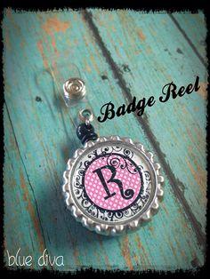 Pink & Black Bottle Cap Initial Badge Reel on Etsy, $8.50
