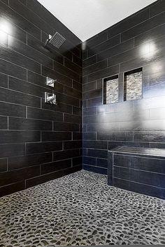Contemporary Master Bathroom - Stone floor
