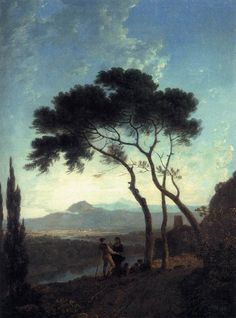 Richard Wilson, founder of English landscape composition tradition/ royal academy and admired by Turner]; late works anticipate Corot.