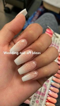 French Fade With Nude And White Ombre Acrylic Nails Coffin Nails - Cute acrylic nails - Aycrlic Nails, Cute Nails, Pretty Nails, Fake Gel Nails, Best Acrylic Nails, Sparkle Acrylic Nails, White Nails With Glitter, Baby Pink Nails Acrylic, Acrylic Nails For Summer Glitter