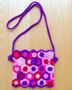 Crocheted Hexagon Handbag by Golden Heart Crafts Golden Heart, Heart Crafts, Pink Things, Children Clothing, Decorative Objects, Handicraft, Kids Outfits, Crochet Necklace, Artisan