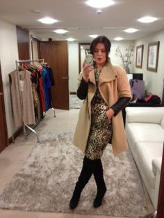 This Tuesday I'm wearing leopard print and camel, teamed with black knee boots. Cosy and smart back to work dressing.