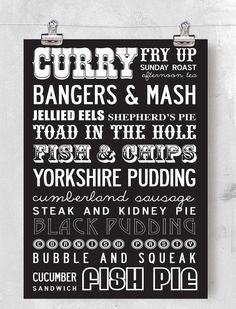 Best of British food - typical / classic dishes. A3, 29.7 x 42 cm, luxury poster print.
