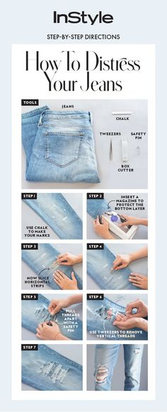 If patience isn't your thing nor is the idea of mass-manufactured holes we put together an easy step-by-step guide on how to distress your jeans at home. The post How to Distress Your Jeans at Home appeared first on Jean. Diy Jeans, Diy Tattered Jeans, Men's Jeans, Como Romper Jeans, Jean Diy, Abaya Mode, Diy Kleidung, Diy Vetement, Do It Yourself Fashion