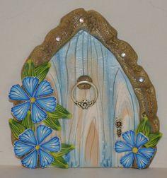 Blue Floral Fairy Door Fairy Garden Fairy Decor por sewaddictd