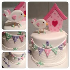 Fondant Bird-house-bunting 3rd birthday cake!