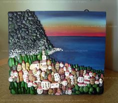 feito com pedras / Pebble Art in art with Pebble Paint Frame Art Pebble Painting, Pebble Art, Stone Painting, Stone Crafts, Rock Crafts, Arts And Crafts, Art Crafts, Art Rupestre, Art Pierre