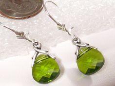 Beautiful Green Crystal earrings @ martywhitedesigns.etsy.com