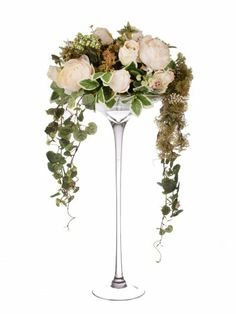 Artificial 80cm Blush Pink Rose, Peony and Mixed Foliage Display in Tall Martini Glass Vase (D007WDG) from Artplants.co.uk #rose #peony #artificialflowers #artificialrose #artificialpeony #weddingflowers