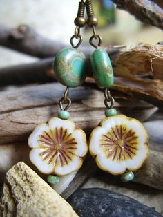 Toasted Blooms  Czech Glass Picasso Flower by HippieHodgepodge