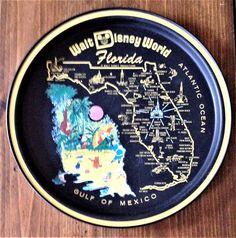 Retro Kitschy 1960s Souvenir Tray Walt Disney World Florida Serving Beverage Platter Drinks Bar Yellow Black Mickey Kitchen Party Map State by Piklandia on Etsy