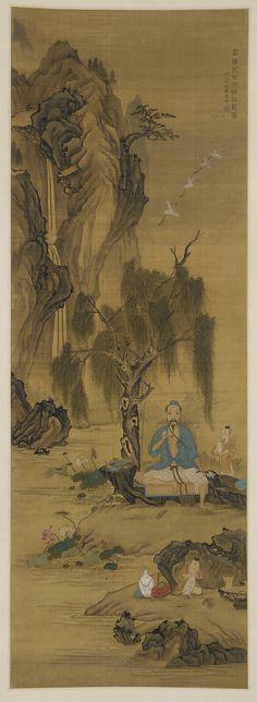Wang Shilu Releasing Cranes in the Shade of a Willow ca. 1670.  Bian Yongyu , (Chinese, 1645-1712). Qing dynasty.
