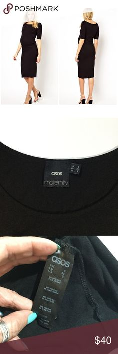 ASOS Maternity Exclusive Bardot Dress Size 2 ASOS Maternity Exclusive Bardot Dress With Half Sleeve Size 2 US 6 UK In Black  Condition: Excellent Condition - There doesn't appear to be any stains, tears, holes, pilling, fraying, or snags. ASOS Maternity Dresses
