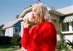 I need a skin tight red angora sweater
