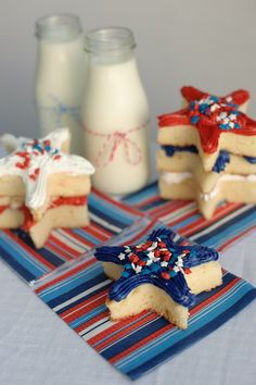 Patriotic Star Cut Out Cakes with Cake Mate glitter icing.  This makes a perfect and easy dessert for 4th of July!