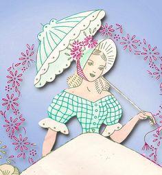 1940s Vintage Laura Wheeler Embroidery Transfer 511 Uncut Garden Gal Pillowcases #AliceBrooks #Pillowcase