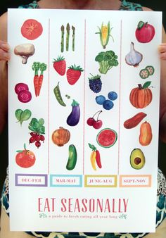 Eat Seasonally Poster//Art Print//Seasonal Fruits and Vegetables Kitchen Print/ Cyber Monday Etsy. $12.00, via Etsy.