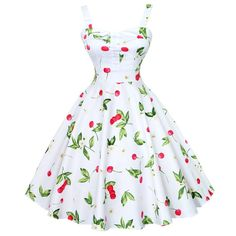 Maggie Tang Women's 1950s Vintage Rockabilly Dress Size L Color White cherry