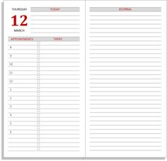 My Life All in One Place: Free Midori TN calendar (diary) inserts for Part 2 - Full size daily layouts