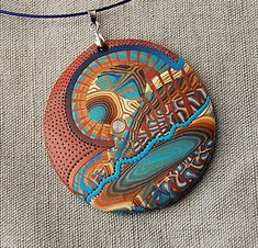 handmade polymer clay fimo and sculpey pendant - 09C11