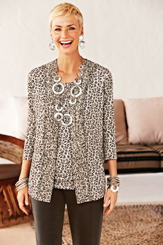 29fcc99c48c2 Travelers Wrinkle-Free Leopard Print Jacket #chicos Over 50 Womens Fashion,  Fashion Over