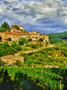 The Village of Montefioralle Overlooks the Tuscan Hills around Greve, Tuscany, Italy