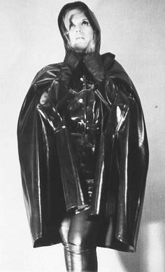 Vintage Hooded Black Rubber Cape