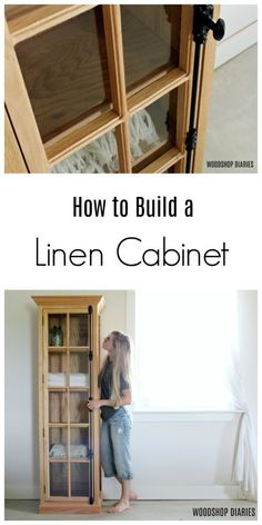 DIY Linen Cabinet {with Glass Door!} --Plans and Tutorial to build this gorgeous linen cabinet that could also be a DIY bookshelf, or display cabinet. # diy furniture plans DIY Linen Cabinet {with Glass Door!} --Plans and Tutorial Diy Furniture Plans Wood Projects, Woodworking Furniture Plans, Door Furniture, Woodworking Tools, Furniture Ideas, Modular Furniture, Furniture Removal, White Furniture, Metal Furniture
