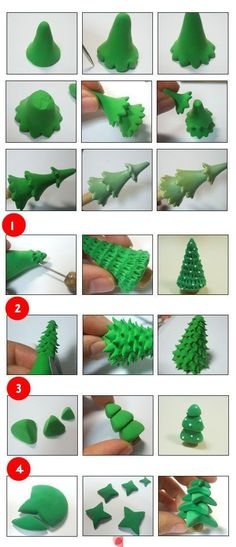 DIY 15 Christmas Polymer Clay Ideas - Christmas Tree (variation) http://diymakeit.com/diy-15-christmas-polymer-clay-ideas/ #DIY #Polymer #Clay