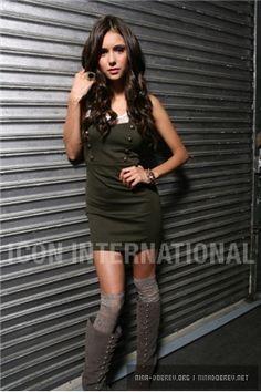 Nina Dobrev: Short Dress, High Knee Socks