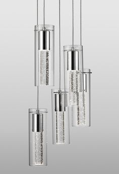 Kuzco Lighting | PD4405-CH | Five Lamp LED Pendant with Encased Bubbles in Clear Glass Shade