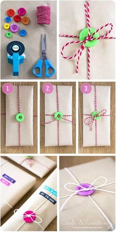 Gift wrapping with buttons http://lc.pandahall.com/lc_images/craft_idea_image/1223/b8bc1a2f-91a9-4236-81bb-6a025a6d3ce0-580-960.jpg