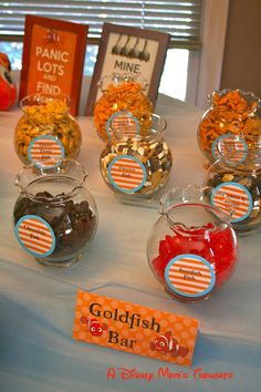 My favorite part of this party was the Goldfish Bar!  Who knew there were so many different kinds of goldfish! :) A Disney Mom's Thoughts: Finding Nemo First Birthday Party Food