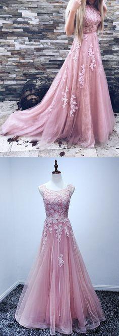 A-Line Prom Dress,Backless Prom Dress, Pink Prom Dress,Tulle Prom Dresses with Appliques,Tulle Prom Dress,Backless Prom Dress,Prom Dresses