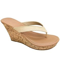 a68f0db326a10e Women Platform Thong Sandals Fashion Colors Wedge Heel Shoes (Natural-B)  6.5 US