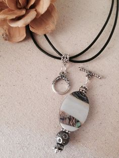 Abalone, Pewter, Swarovski Crystal Pendant Necklace