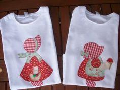 camisetas con muñecas con helado y cesta en rojo conjunto camisetas 2 tallas en patchwork tela lisa y estampada,fliselina,hilo de bordar patchwork,aplicación