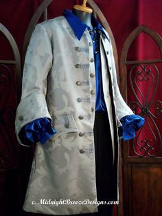 MADE TO ORDER Mens Renaissance, Pirate, Baroque, Colonial Suit / Costume - Coat, Waistcoat, Shirt, Breeches