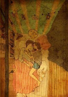 Liebe ist ... Diese kleinen Gesten verraten, dass deine Beziehung die große Liebe ist. www.gofeminin.de #beziehung #comic #love #drawings #bett