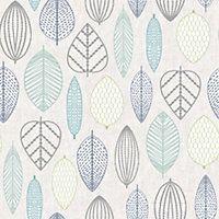 Superfresco Easy Scandi Leaf Blue Wallpaper