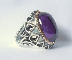 925 Sterling Silver Men's Ring with Amethyst by MASTERofSILVER, $58.00