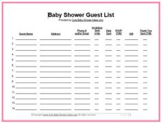 FREE Expanded Guest List For Your Baby Shower.  Printable Baby Shower Guest List