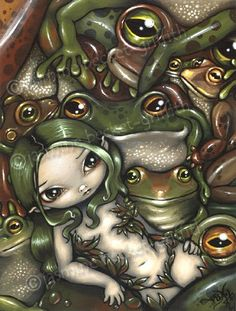 Bed of Frogs fairy fantasy frog animal art print by by strangeling