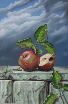 oil on wood: apples