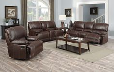 Leather Reclining Living Room Set