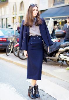 I never thought I would be inspired by socks and ankle boots before seeing this. Street Style Blue Blazer via @WhoWhatWear