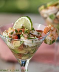 Shrimp Seviche with avocado..nice and light on a hot summer's day.