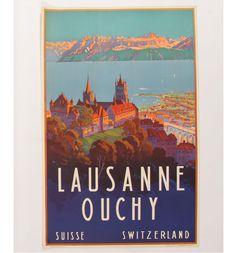 Mueller Lausanne Ouchy Switzerland Travel Poster #vintage #poster